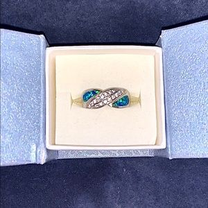 Australian Opal and Diamond Ring